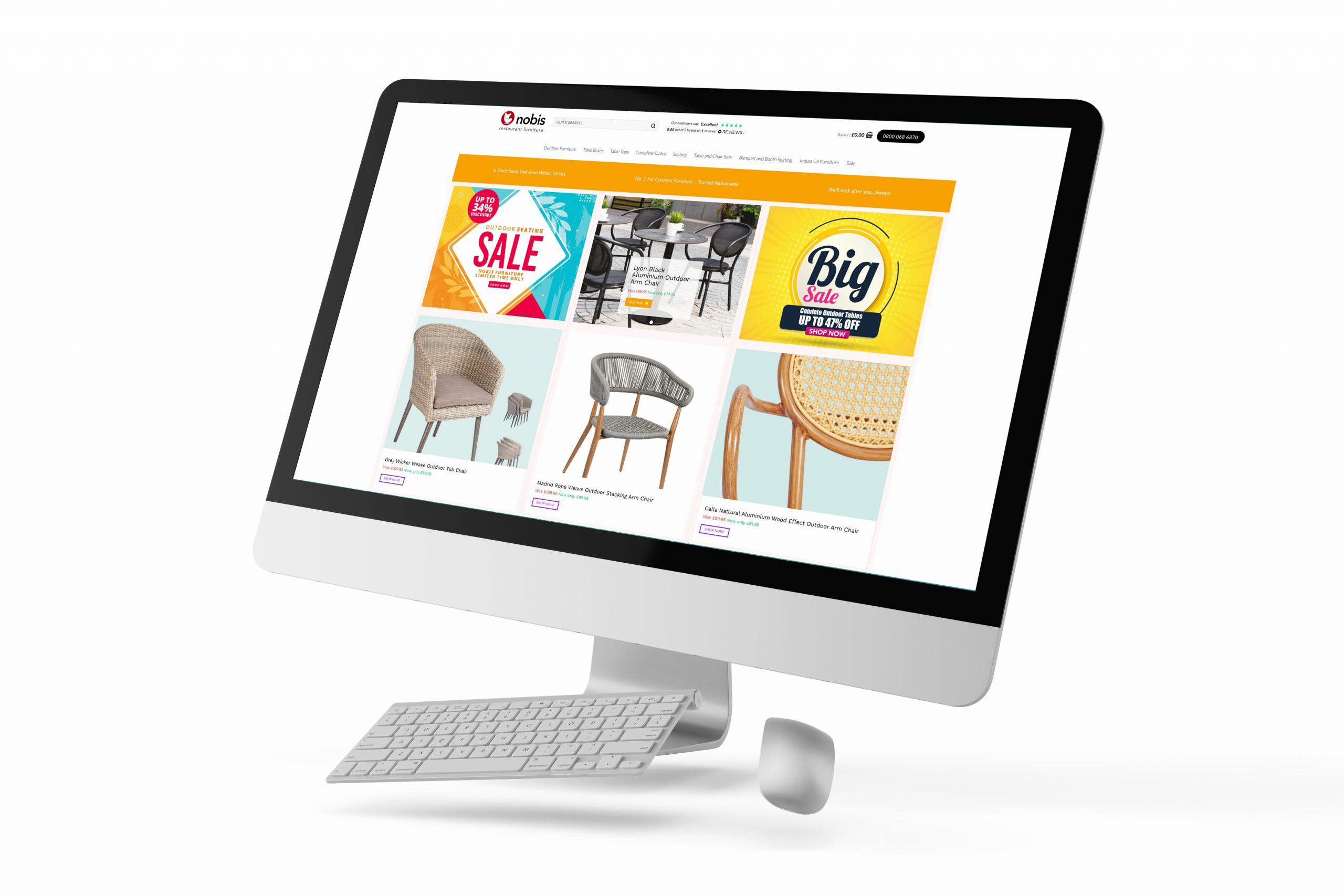ACTISmedia website design - Nobis Restaurant Furniture - eCommerce design - Nottinghamhsire